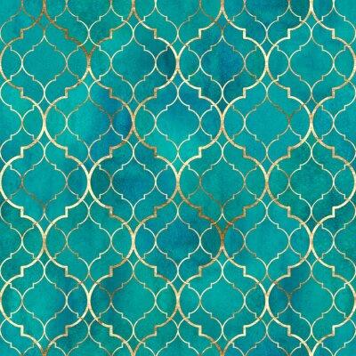 Wall mural Watercolor abstract geometric seamless pattern. Arab tiles. Kaleidoscope effect. Watercolour vintage mosaic texture