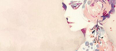 Wall mural Watercolor abstract portrait of girl. Fashion background.