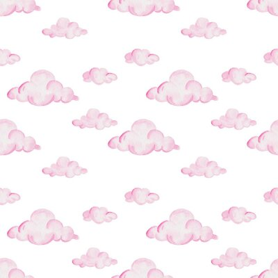 Wall mural Watercolor baby shower pattern. Pink clouds on the white background. For design, print or background