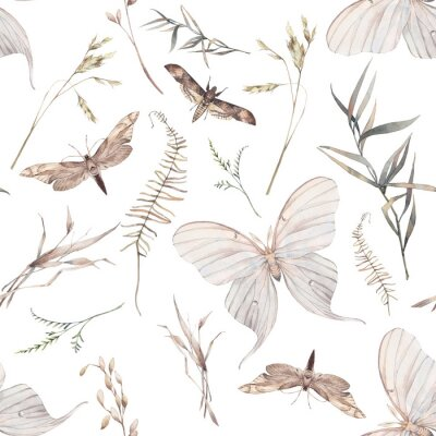 Wall mural Watercolor butterfly and summer field herbs seamless pattern. Hand painted texture with botanical elements: plants, grass, berries, fern, leaves. Natural repeating background