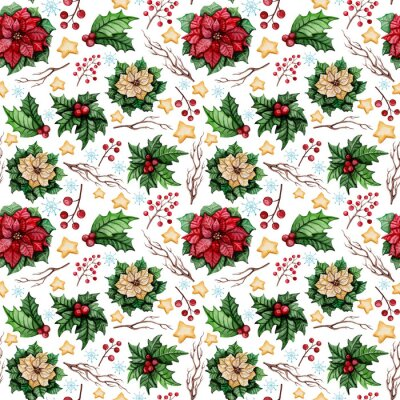 Wall mural Watercolor Christmas Seamless Pattern with Poinsettia, Stars and Holly