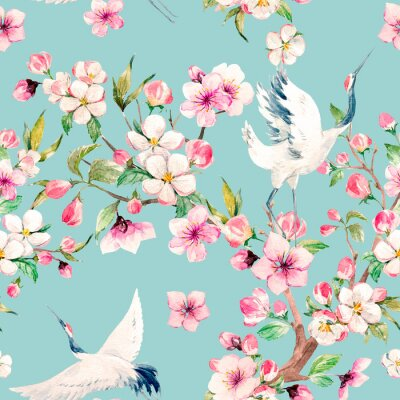 Wall mural Watercolor crane with flowers pattern