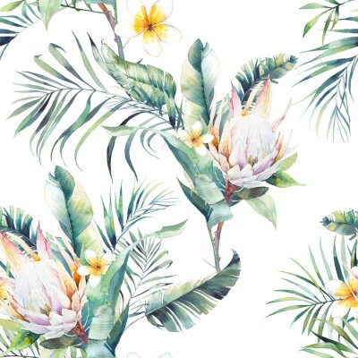 Wall mural Watercolor exotic seamless pattern. Repeating texture with plants, tropical bouquet: palm tree branches, protea, banana leaves, frangipani flower. Summer wallpaper design
