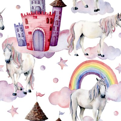 Wall mural Watercolor fairy tale pattern with unicorns. Hand painted magic horses, castle, rainbow, clouds, stars isolated on white background. Cute wallpaper for design, print or background.