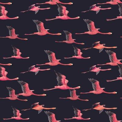 Wall mural Watercolor flamingo pattern