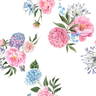 Wall mural Watercolor floral bouquet seamless vector pattern