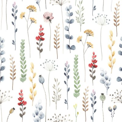 Wall mural Watercolor floral seamless pattern with colorful wildflowers, leaves and plants. Illustration on white background in vintage style.