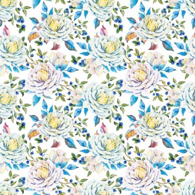 Wall mural Watercolor floral vector pattern