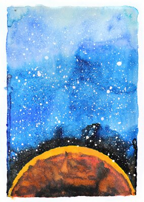 Wall mural Watercolor galaxy illustration. Planet Mars.