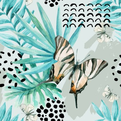 Wall mural Watercolor graphical illustration: exotic butterfly, tropical leaves, doodle elements on grunge background.