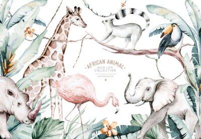 Wall mural Watercolor illustration of African Animals: lemur, flamingo and giraffe, toucan and rhipo, rhino and elephant isolated white background. Safari savannah animals