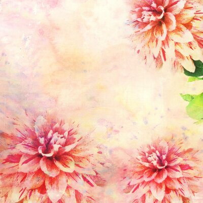 Wall mural Watercolor illustration of floral theme