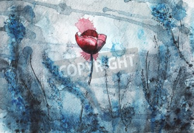 Wall mural watercolor illustration. red poppy flower