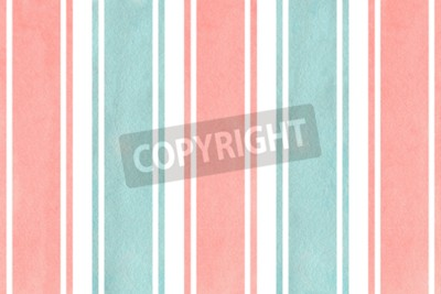 Wall mural Watercolor light pink and blue striped background. Watercolor geometric pattern.