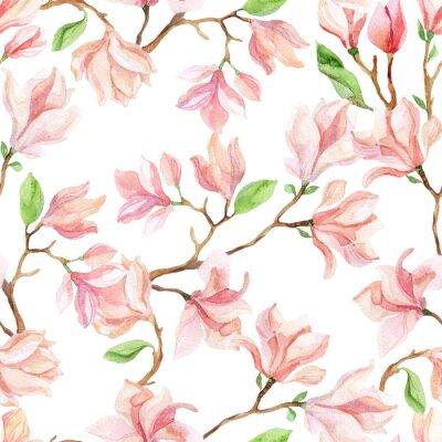 Wall mural watercolor magnolia branches