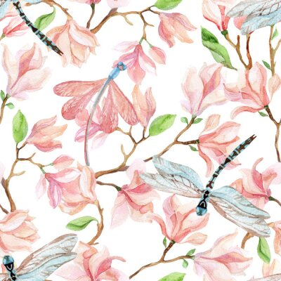 Wall mural watercolor magnolia branches and dragonfly