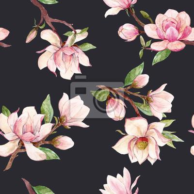 Wall mural Watercolor magnolia floral pattern