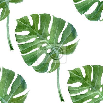 watercolor monstera leaf seamless