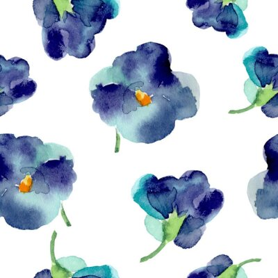 Wall mural Watercolor of violet flowers seamless pattern.