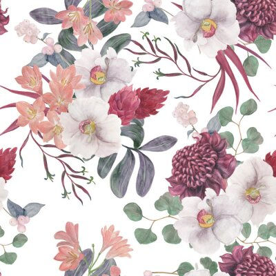Wall mural Watercolor painting seamless pattern with exotic flower and tropical leaves