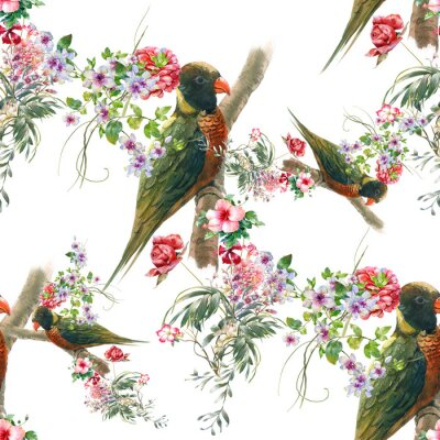 Wall mural Watercolor painting with birds and flowers, seamless pattern on white background