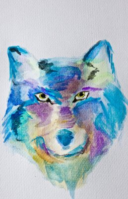 Wall mural Watercolor painting  Wolf on white album background. Wet technique. Blue purple shades. Modern art. Leisure.