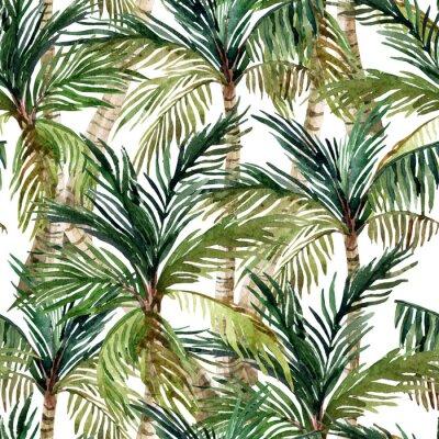 Wall mural Watercolor palm tree seamless pattern