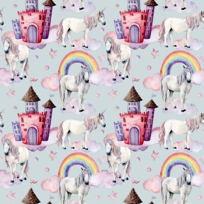 Wall mural Watercolor pattern with unicorns and fairy tale decor. Hand painted magic horses, castle, rainbow, clouds, stars isolated on white background. Cute wallpaper for design, print or background.