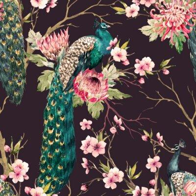 Wall mural Watercolor peacock vector pattern