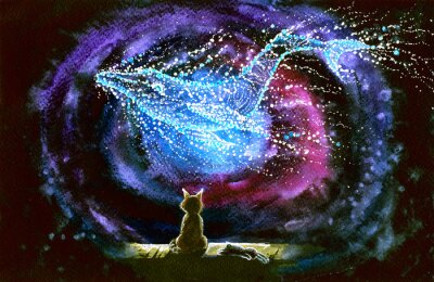Wall mural Watercolor picture of a cat and whale constellation