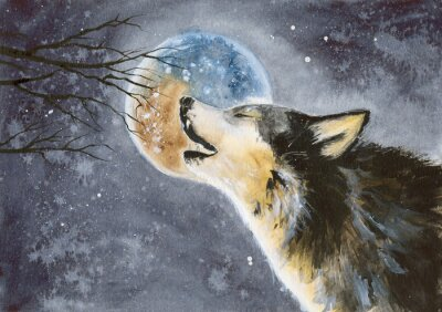 Wall mural  Watercolor picture of a wolf with a moon on the background, snow and tree