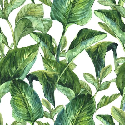 Wall mural Watercolor Seamless Background with Tropical Leaves