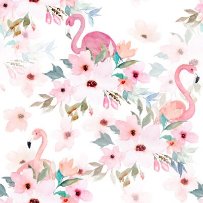 Wall mural Watercolor seamless pattern. Floral print with flamingo