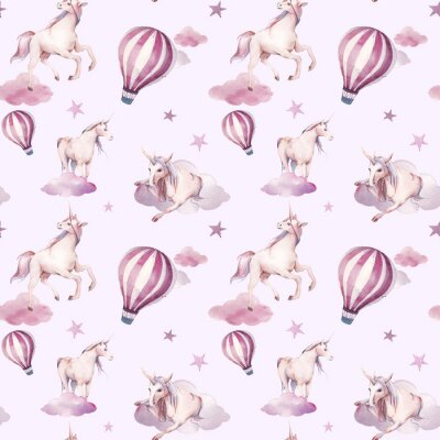Wall mural Watercolor seamless pattern with flying unicorn, clouds, stars. Baby girl style wallpaper design. Hand drawn fairy tale repeating background