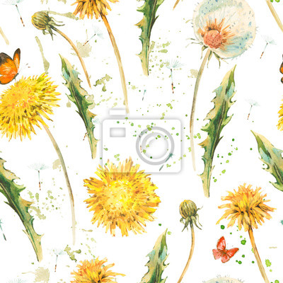 Wall mural Watercolor seamless pattern with spring dandelions