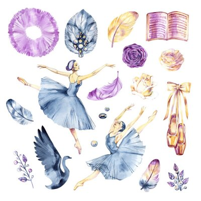 Wall mural Watercolor sketch. Ballet accessories, pointes and skirt. Print elements.