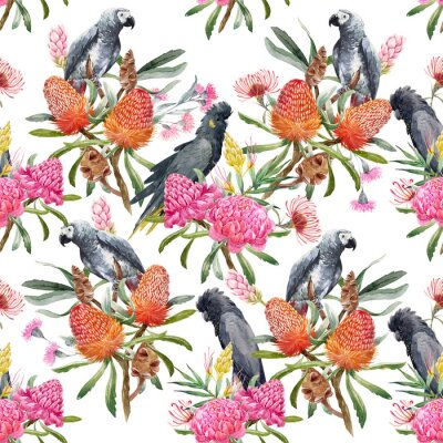 Wall mural Watercolor tropical australian pattern