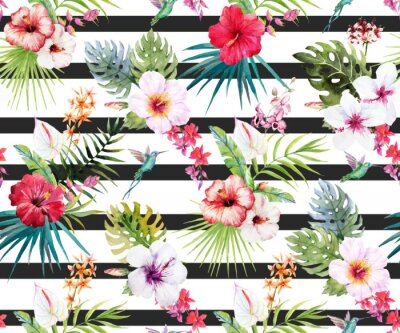 Wall mural Watercolor tropical floral pattern