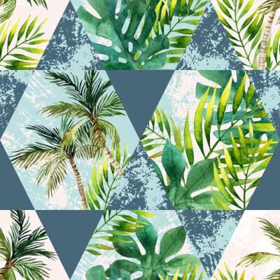 Wall mural Watercolor tropical leaves and palm trees in geometric shapes seamless pattern