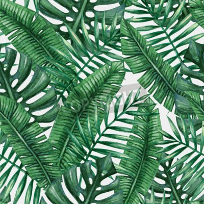 Wall mural Watercolor tropical palm leaves seamless pattern.