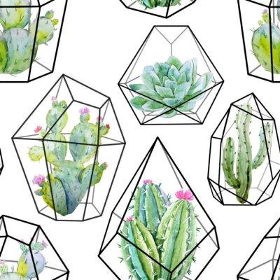 Wall mural Watercolor vector cactus pattern