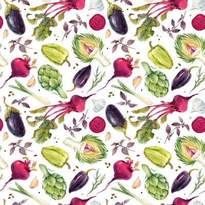 Wall mural Watercolor vegetable pattern