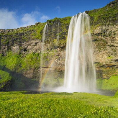 Wall mural waterfall and rainbow in Iceland