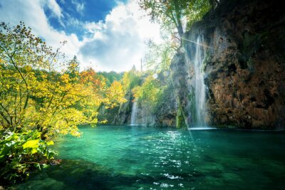 waterfall in forest, Plitvice Lakes, Croatia