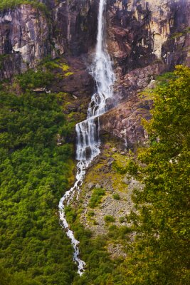 Wall mural Waterfall near Briksdal glacier - Norway