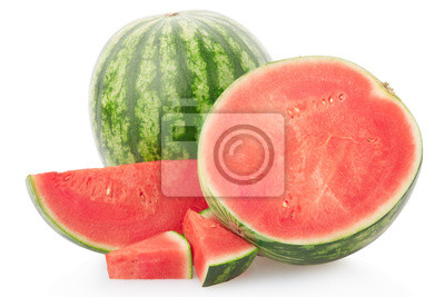 Wall mural Watermelon group with section and slices on white, clipping path