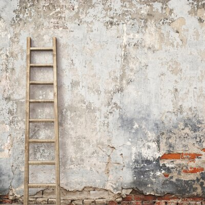 Wall mural weathered stucco wall with wooden ladder