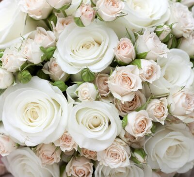 Wall mural Wedding bouquet of pinkand white  roses