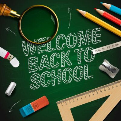 Wall mural Welcome back to school, vector Eps10 illustration.