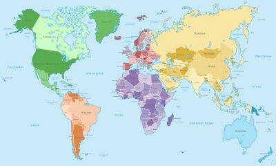 Wall mural Weltkarte - einzelne Kontinente in Farbe (hoher Detailgrad)